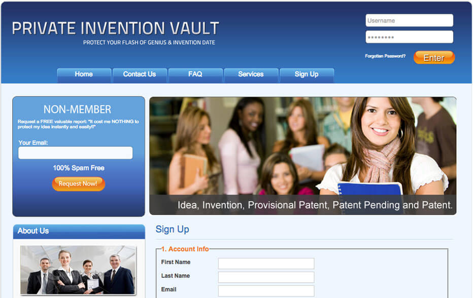 Private Invention Vault Website on Laptop