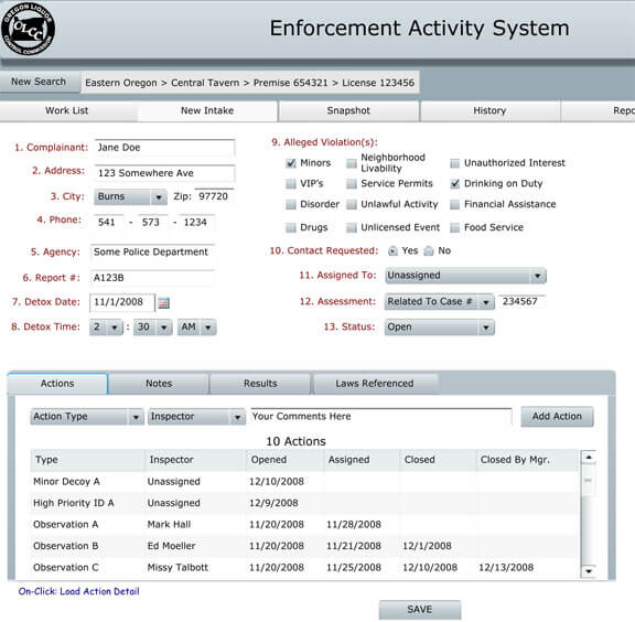 Enforcement Activity System