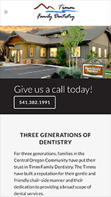 Timm Family Dentistry Website on Phone